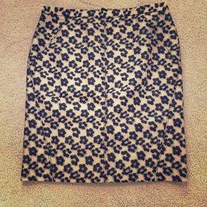 Ann Taylor 12 pencil skirt leopard print black tan